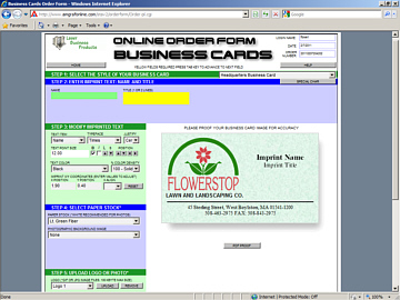 Open an Interactive Business Cards Order Form