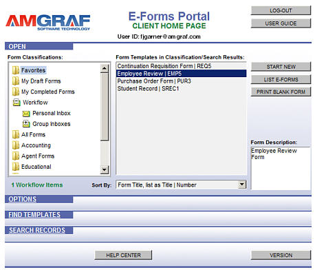 Forms Portal Home Page